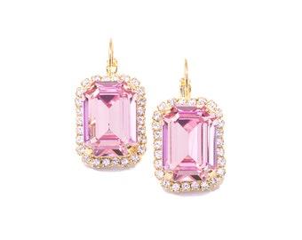 Pink Swarovski Earrings, Pink Octagon Earrings, Pink Crystal Earrings, Bridesmaid Earrings, Georgian Paste Earrings