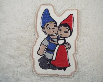 GNOMEO and JULIET Gnomes Embroidered Iron-on Patch
