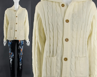Cable Knit Cardigan Sweater Cream Button Down Jumper 70's Vintage Sweater Small