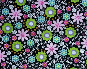 Bright Flowers on Black Background Fabric by Brother Sister Design Studio 2001