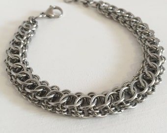 Wide Bracelet, Metal Chain Link Jewelry, Everyday Chainmaille Cuff, Silver Stainless Steel Masculine Designer Gifts For Him Non Tarnish