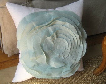 Stuffed French Rose Pillow in White and Robins Egg Blue
