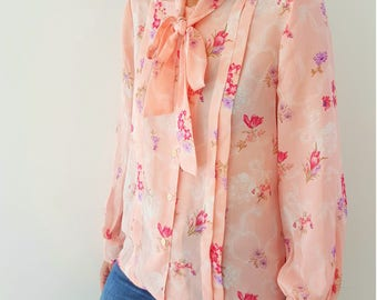 Long Sleeve Pink Floral Pattern Bow Tie Collar Buttoned Bohemian Blouses Warsaw Lili Vintage Top Shirt Blouses by Kirna