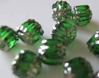 Gorgeous Green and Silver Faceted Cathedral Czech 6mm Beads