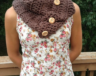 Crocheted Buttoned Cowl Scarf Handmade in USA