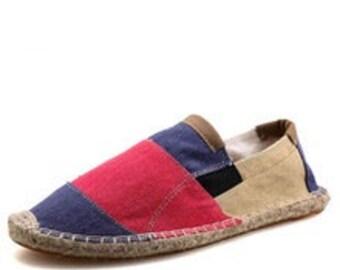 Mens Espadrilles Patchwork Slip On Summer Shoes Men Loafers 2018 Breathable Canvas Men Shoes Fashion