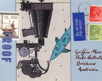 "Original mixed media 'Shark Machine' approx 6"" X 4"""