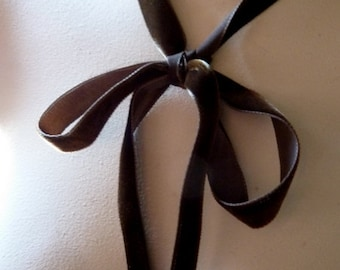 """2 yds. Brown Velvet Ribbon 5/8"""" width made in Switzerland for Costumes, Floral Supply, Millinery VL 57"""