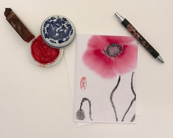 Blank Cards, Pack of 5 with Envelopes, Poppies, Any Occasion, Sumi-e, Chinese Watercolor, Print
