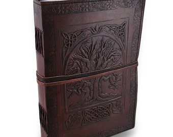 "Handmade Large 10"" Celtic Tree Embossed Leather Journal Diary - Cotpic bound with Leather Tie Closure"