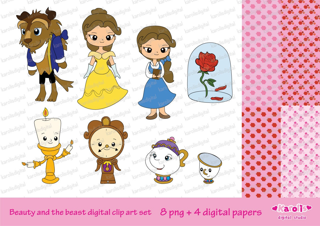 Beauty And Beast Digital Clip Art Set Personal Commercial