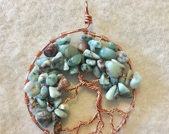 Whimsical copper and Larimar Tree of Life