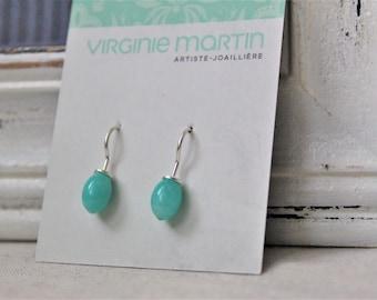 Sterling silver and amazonite drops Earrings - handmade earrings silver 925
