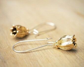 Tulip Earrings, Gold Flower Earrings, Bridesmaid Earrings, Lily of the Valley Earrings, Minimalist Jewelry, Dangle Earring
