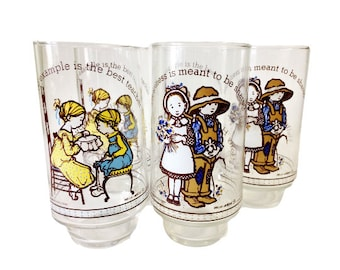 Set of 5 Vintage Limited Edition American Greetings Holly Hobby Coca Cola Glasses
