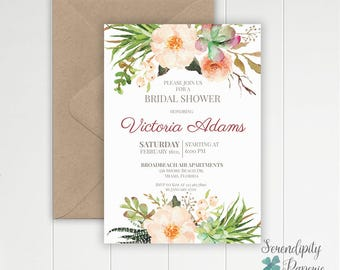 succulent cactus watercolor bridal shower invitation,