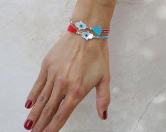 Hamsa evil eye bracelet, dainty cord friendship bracelet, boho mother of pearl tassel armband, multicolor fringe stacking everyday bracelet
