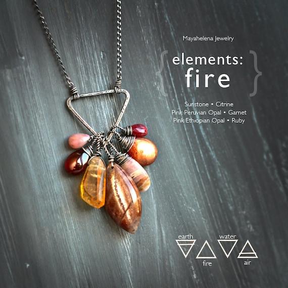 Elements: Fire  - Alchemy Symbolism Sterling Silver Pendant Sunstone Citrine Pink Peruvian Opal Garnet Pink Ethiopian Opal Ruby