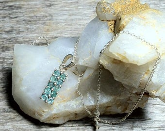 Vintage Emerald Pendant Necklace / Emeralds in Sterling Silver Necklace / May Birthstone Necklace