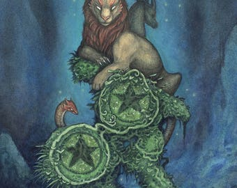 """8""""x10"""" Limited Edition lustre print """"Two of Pentacles"""" / Watercolor, fantasy creature, chimera, tarot, divination, monster, mythology, art"""