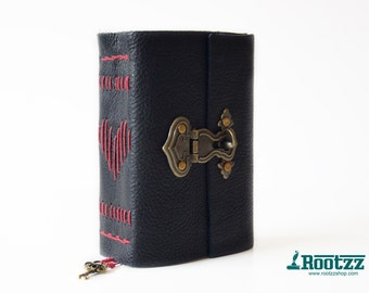 Leather vintage journal with metal lock  leahter journal - travelers notebook - journal -love