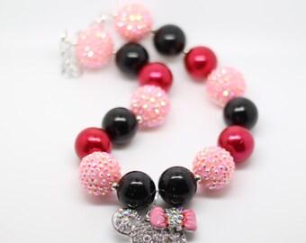 Minnie Necklace, Minnie Bubblegum Necklace, Gift for Girls, Stocking Stuffer, red Minnie necklace, pink and red minnie bubblegum necklace