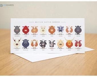 Farm Animal Greeting Cards, Farm Animal Art, Cows, Sheep, Pig, Chicken, Horse, Pack of 5, Animal Greeting Cards, Farm Animals