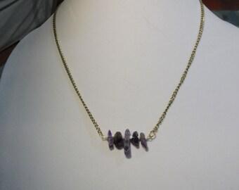 Amethyst Gemstone Bar Necklace | Gemstone Bar Necklace | Amethyst Necklace | February Birthstone