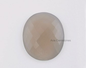 Grey Chalcedony Faceted Calibrated Oval Gemstone 30x35 mm AAA Grade, Wholesale Loose Gemstone - 1 Pcs.