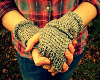 Knitted Fingerless Gloves- Gray, Hand Warmers, Wrist Warmers, Texting Gloves, Button Strap, READY TO SHIP