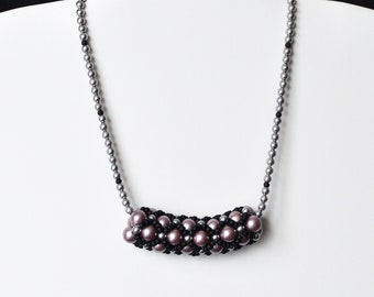"""Metallic Pink and Grey Shell Pearl & Black Miyuki Seed Bead Chenille Tube Decorative Necklace with a Silver Coloured Heart T-bar Clasp. 16"""""""