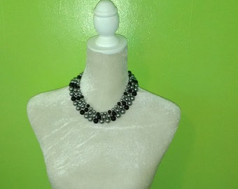 Gray and Black Faux Pearl Multi-Strand Necklace