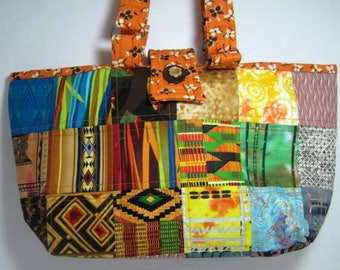 Quilted Knitting Tote, Ethnic African Tribal Fabric,  Library Book Bag, Market Tote Bag, Patchwork Quilted Tote Bag, Yarn Project Tote Bag