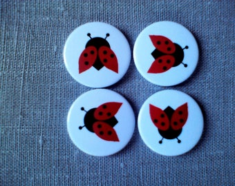 Button magnets round Ladybug motif