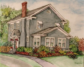 HOUSE PORTRAITS in Pen/Ink and Watercolor, Homes,Churches,Public Buildings,Restaurants,Shops, Storefronts,Custom Original House Portaits