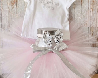 Pink and Silver Birthday Tutu and Headband Toddler Infant Girl Picture Prop