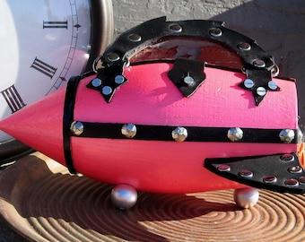 Rocket Purse Pink, Black & Silver