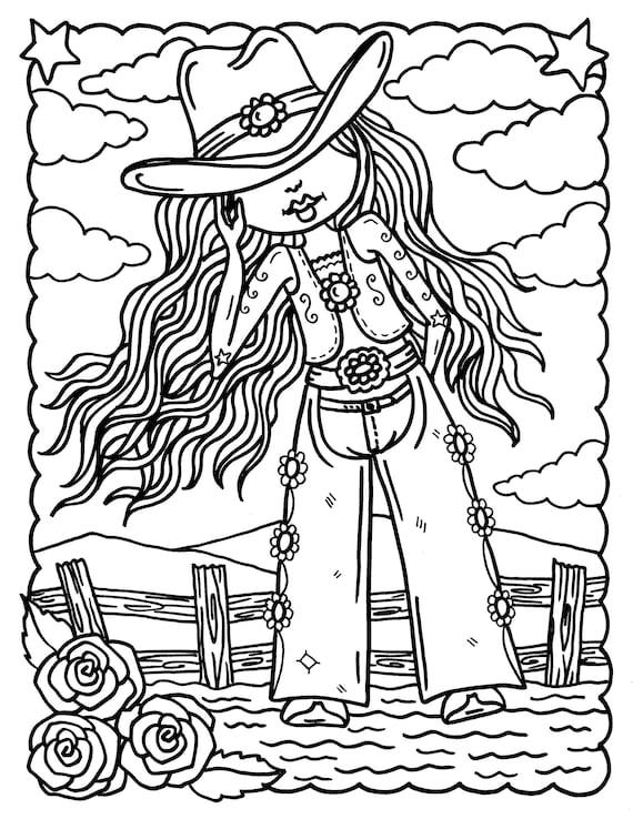 5 Cowgirl Digital Download Färbung Seiten Digi Stamps
