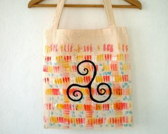 Spiral Cotton Tote Bag, Hand Painted Abstract  Mandala Color Blocks modern art // yoga bag