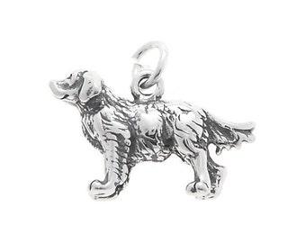 Sterling Silver Golden Retriever Dog Charm (3d charm)