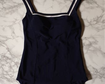 navy blue maillot | nautical striped one piece swimsuit