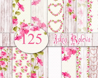 Floral digital paper with Wood texture and hearts