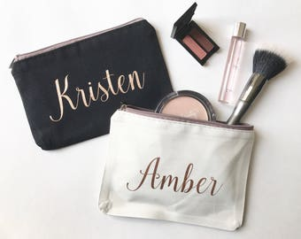 Personalized Makeup Bag, Bridesmaids Gift, Custom Cosmetic Bag, Rose Gold, Gifts for Her, Bridal Party Presents, Customizable,BULK DISCOUNT