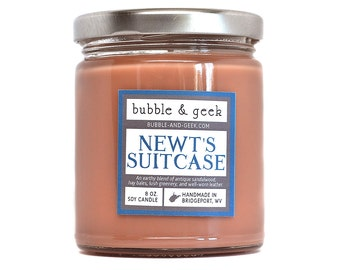 Newt's Suitcase Scented Soy Candle - 8 oz. jar - sandalwood, hay, greenery, leather - bookish