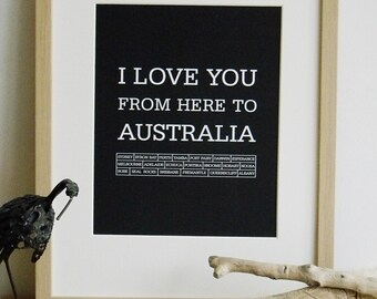 Travel typography art, Travel Australia, Australia art,  Travel poster, Travel print, I love you from here to Australia