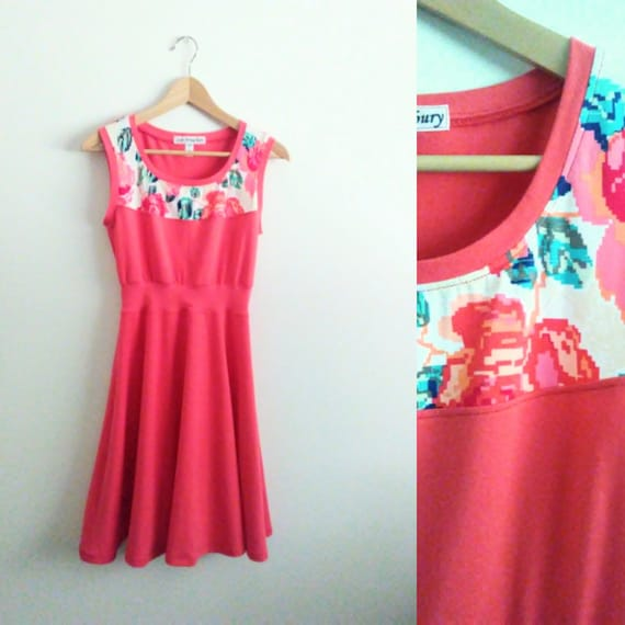 Size SMALL Coral Womens Dress pink Floral Yoke stretch Cotton sleeveless Full swing skirt spring party dress fit and flare