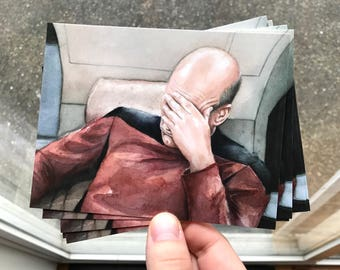 Picard Facepalm Meme Cards Captain Picard Postcards Set Funny Star Trek TNG Cards Funny Geek Postcards Picard Art Postcards Set - Choose Amt