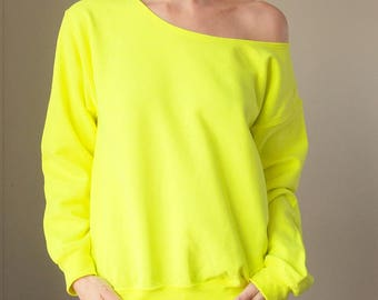 Slouchy Sweatshirt Off The Shoulder Slouchy Sweater Women Sweatshirt Off Shoulder Neon Yellow Womens Neon Funny Sweatshirt Long Sleeve Neon