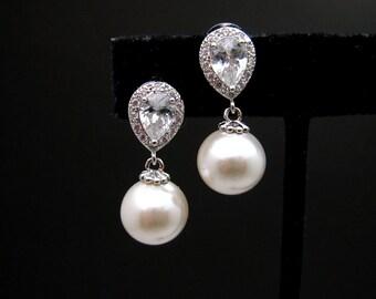 Bridal wedding earrings bridemaid gift 12mm off white pearl earrings with teardrop cubic zirconia post earrings