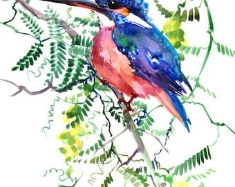 Kingfisher  painting art, original one of akind watercolor painting, kingfisher wall art, bird artwork, bird painting, common kingfisher